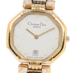 Dior Christian Dior Octagon D48-133 Stainless Steel x GP Gold Quartz Analog Display Ladies White Dial Wrist Watch [Used]
