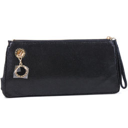 BVLGARI Bvlgari Leather Black Ladies Pouch [Used] A Rank