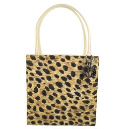 Dior Christian Dior Back Leopard Canvas Yellow Ladies Handbag [Used] A Rank