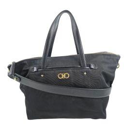 Salvatore Ferragamo 2WAY Shoulder Gancio Nylon Black Ladies Handbag [Used]