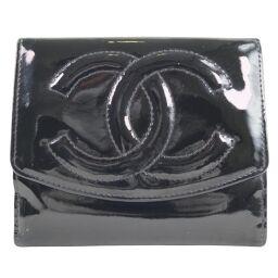 CHANEL シャネル Wホック パテントレザー 黒 レディース 二つ折り財布【中古】