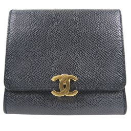 CHANEL Compact Wallet Matte Caviar Skin Black Ladies Coin Case [Used]