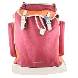 BURBERRY rucksack 4074250 nylon red / orange / white unisex rucksack daypack [used] S rank