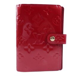 LOUIS VUITTON Louis Vuitton Agenda PM R21016 Monogram Verni Red CA2078 Engraved Ladies' Notebook Cover [Used]