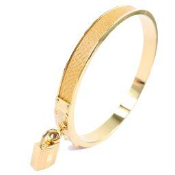 HERMES Hermes Kelly Bangle Cadena Leather Yellow Ladies Bracelet [Used] A rank