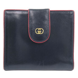 GUCCI Gucci W Hook Vintage Calf Black / Red Ladies Bi-Fold Wallet [Used]