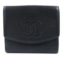 CHANEL W Hook Wallet Matte Caviar Skin Black Ladies Bi-Fold Wallet [Used]