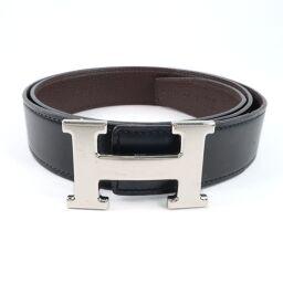 HERMES Hermes H belt 90 calf black / brown □ N engraved men's belt [used] A-rank
