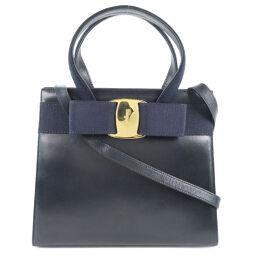 Salvatore Ferragamo Salvatore Ferragamo Vala Ribbon 2WAY Shoulder Calf Navy Ladies Handbag [Used]