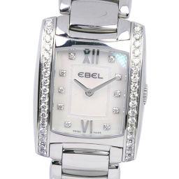 EBEL エベル ブラジリア 1215607 ステンレススチール×ダイヤモンド クオーツ レディース ホワイトシェル文字盤 腕時計【中古】A-ランク