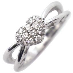 Ponte Vecchio ポンテヴェキオ ハート K18ホワイトゴールド×ダイヤモンド 9号 0.20刻印 レディース リング・指輪【中古】SAランク
