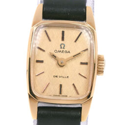 OMEGA Omega cal.485 GP × leather manual winding analog display ladies gold dial watch [used] A-rank