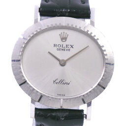 ROLEX Rolex Cellini cal.1600 K18 white gold x leather hand-wound analog display ladies silver dial watch [used]