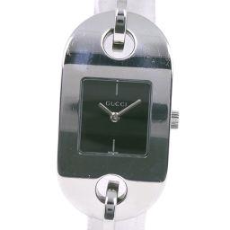 GUCCI グッチ ブレスウォッチ 6155L ステンレススチール クオーツ レディース 黒文字盤 腕時計【中古】