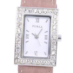 Furla フルラ ステンレススチール×ラインストーン×レザー ピンク クオーツ レディース 白文字盤 腕時計【中古】A-ランク