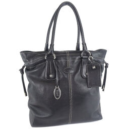 TOD'S Tods Leather Black Ladies Tote Bag [pre-owned]
