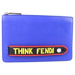 FENDI フェンディ THINK FENDI ボキャブラリー 7VA350 AO1N カーフ ブルー レディース クラッチバッグ【中古】Aランク