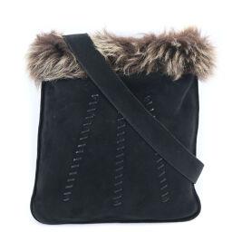 HERMES Hermes Satchel Suede x Fur Black Ladies Shoulder Bag [Used] A Rank