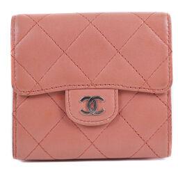 CHANEL W Hook Saif Matrasse Lambskin Pink Ladies Bi-Fold Wallet [Used] A-Rank