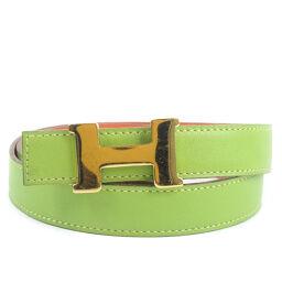 HERMES Hermes H Belt 65 Calf Light Green C Engraved Ladies Belt [Used] A-Rank