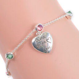 GUCCI Gucci Heart Tag Silver 925 Pink / Green Ladies Bracelet [Used]