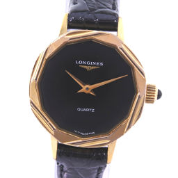 LONGINES Longines Stainless Steel × Leather Gold Quartz Women's Black Dial Watch [Pre]