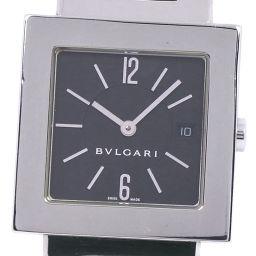 BVLGARI ブルガリ クアドラード SQ29SSD ステンレススチール シルバー クオーツ メンズ 黒文字盤 腕時計【中古】