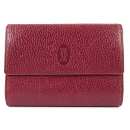 CARTIER Cartier Calf Bordeaux Ladies Bi-Fold Wallet [Used]