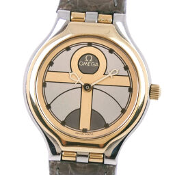 OMEGA Omega Stainless Steel x Leather Quartz Ladies Gold Dial Watch [Used]