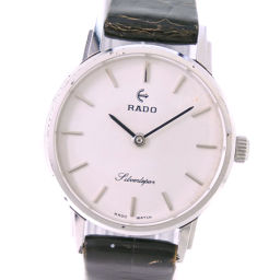RADO Rado Silver Lepolel Silverlepor Stainless steel × leather hand-rolled ladies silver dial watch [pre]