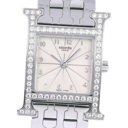 HERMES エルメス Hウオッチ ダイヤベゼル HH1.230 ステンレススチール×ダイヤモンド クオーツ レディース シルバー文字盤 腕時計【中古】