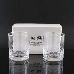 COACH Coach Rock Glass / Tumbler x 2 7.5 x H9cm Glass Clear Tableware [Used] S Rank