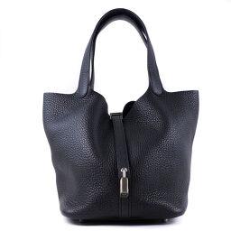 HERMES Hermes Picotan Lock MM Taurillon Clemence Black Y Engraved Ladies Handbag [Used] S Rank