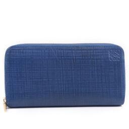 LOEWE Loewe Round Zipper Calf Blue Ladies Long Wallet [Used]