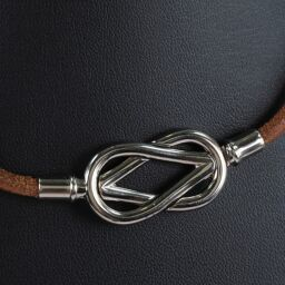 HERMES Hermes Double Breath Atame Leather x Silver Brown Women's Choker [Used]