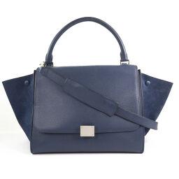 CELINE Celine Trapeze 2WAY Shoulder 169543 Calf x Suede Navy Blue Women's Handbag [Used] A-Rank