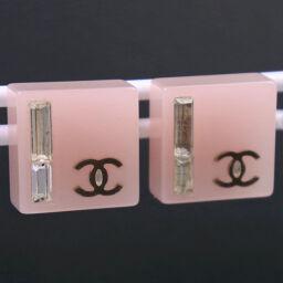 CHANEL Chanel Coco Mark Plastic x Rhinestone 07C Engraved Women's Earrings [Used]