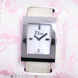 Dior Christian Dior Maris D78-109 Stainless Steel x Leather White Quartz Ladies White Shell Dial Watch [Used]