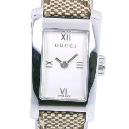 GUCCI グッチ 8600L ステンレススチール×GGキャンバス クオーツ レディース 白文字盤 腕時計【中古】