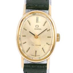 OMEGA オメガ デヴィル/デビル ステンレススチール×レザー 手巻き レディース ゴールド文字盤 腕時計【中古】B-ランク