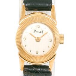 <html>    <body>   PIAGET ピアジェ K18イエローゴールド×レザー 手巻き レディース シルバー文字盤 腕時計     【中古】        </body> </html>