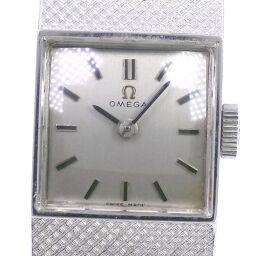 OMEGA オメガ K18ホワイトゴールド 手巻き レディース シルバー文字盤 腕時計【中古】