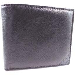 hiromichi nakano ヒロミチナカノ 牛革 黒 メンズ 二つ折り財布【中古】Sランク