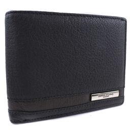 HIROKO KOSHINO ヒロコ・コシノ 牛革 黒 メンズ 二つ折り財布【中古】Sランク