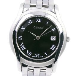 GUCCI グッチ 5500M ステンレススチール クオーツ メンズ 黒文字盤 腕時計【中古】A-ランク