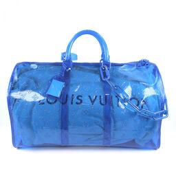 LOUIS VUITTON Louis Vuitton Keepall Bandolier 50 M53272 Vinyl Skeleton Blue DR5108 Engraved Women's Boston Bag [Used] A + Rank