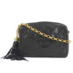 CHANEL Chain Shoulder Fringe Vintage Lambskin Black Women's Shoulder Bag [Used]