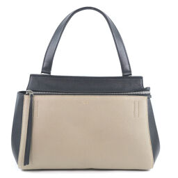 CELINE Celine Edge 174013TEB.03SD Calf Beige Ladies Handbag [Used] A-Rank