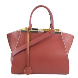 FENDI FENDI Trois Jules 2WAY Shoulder 8BH279 Calf Red Ladies Handbag [Used] A-Rank