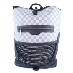 LOUIS VUITTON Matchpoint Damier Echost N40018 Damier Azur Canvas White Blue FL2128 Engraved Unisex Backpack Daypack [Used] A + Rank